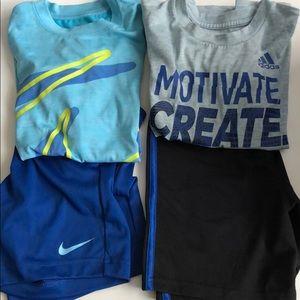 Boys bundle size 6 Nike and adidas short sets